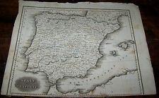 1829 ANTIQUE MALTE BRUN SPAIN PORTUGAL EUROPE ATLAS MAP COPPER ENGRAVING