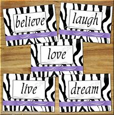 Zebra Wall Art Prints Purple Decor Quote Love Laugh Live Dream Motivational Home
