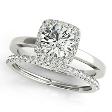 1.75 CT FOREVER ONE MOISSANITE ROUND MICRO PAVE HALO WEDDING SET RING