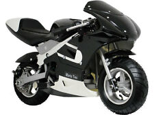 MotoTec Gas Pocket Bike Mini Air Cooled Motorcycle Age 13+ Black Fully Assembled