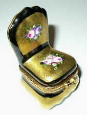 LIMOGES BOX - LADY'S FLORAL BOUDOIR CHAIR - GOLD INCRUSTATION & SEVRES ROSES