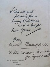 Autograph Sir Archibald Campbell Greeting message Madras Presidency C 1918-35