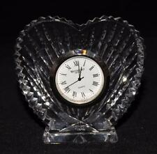 "Waterford Crystal HEART Quartz Mantel Desk Clock, 3 1/4"" Tall, Silver Face"