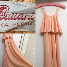 VTG Cattani Of California Dress Slip Dress Night Gown Peach S Made In USA 1970s