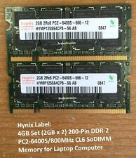 4GB Kit (2GBx2) 200-Pin DDR2 PC2-6400S 800MHz SODIMM LAPTOP MEMORY Dell HP Apple