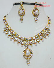 Gold Plated Diamonds Kundan Pearls Necklace Earrings Party Fashion Jewellery Set