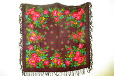 """Russian 100% Wool Maroon Pink Floral Shawl from Pavlo Posad 95cm x 95cm 37""""x37"""""""