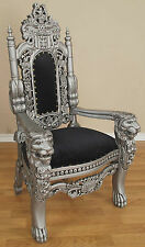 MINI Lion Throne Chair - 3 Feet Tall Child or Doll Size - Silver Paint Finish