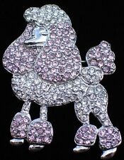 SILVER PINK CLEAR RHINESTONE PARIS STANDARD POODLE DOG PUPPY PIN BROOCH JEWELRY