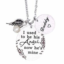 Memorial Necklace I Used To Be His Angel Now He's Mine Necklace Daddy , In Me...