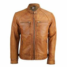 Mens Real Leather Washed Tan Brown Vintage Zipped Smart Casual Biker Jacket