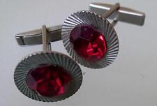 ROUND VINTAGE RUSSIAN USSR SOVIET CUFFLINKS WITH RED CRYSTAL