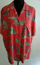 Crazy Horse Button Front Shirt Pink Blue Green Garden Cart Flowers Print SZ 2X