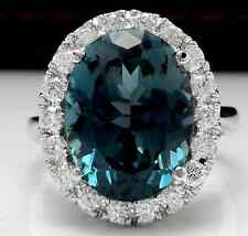 13.20 Carats Natural LONDON BLUE TOPAZ and Diamond 14K White Gold Ring