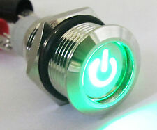 Metal Green LED Push Button Momentary Waterproof Self-Locking Switch 16mm QN16C5