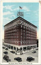 1950 WICHITA FALLS Texas Tx Postcard THE KEMP HOTEL Cars Busy