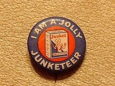 Antique Junket Vanilla Flavor Advertising Pin / Badge / Button