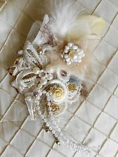 VINTAGE LACE COURSAGE RUSSIAN PRINCESS BOHEMIAN ADORNMENT BROOCH Mixed Media