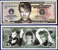 1-David Bowie  Million  Dollar Bill Collectible--Novelty -- FAKE -MONEY ITEM-O