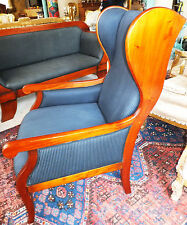 Biedermeier Thron Ohren Sessel Armlehn Sitz Möbel Wing Chair Armchair antik
