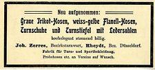 Bezirksturnwart Joh. Zerres Rheydt Sportbekleidung Historische Reklame von 1907