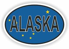 OVAL ALASKA STATE WITH FLAG USA STICKER AUTO MOTO TRUCK LAPTOP BIKE TABLET CAR