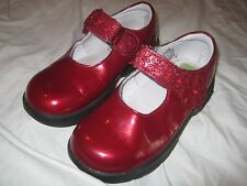 STRIDE RITE Toddler Tech Girls MARY JANE Ruby Red Patent 9 M Dress SHOES EUC
