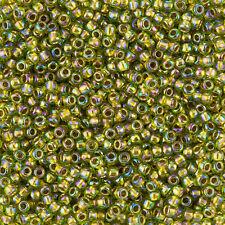 Toho Size 8/0 Round 3mm Seed Beads Gold Lined Rainbow Peridot 10g (L44/5)