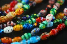 15pcs Oval Glass Colorized Millefiori Loose Beads Spacer Jewelry Finding 6x9.5mm