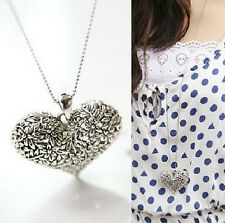 Womens Carved Silver Heart Flower Charm Pendant Vintage Long  Necklace Gift@3
