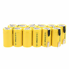 Hot Sale 12pcs 1.2V 1300mAh Sub C SC Ni-Cd NiCd Rechargeable Battery -Yellow