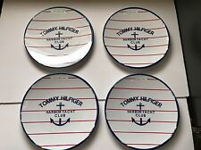 NEW (4) Tommy Hilfiger Yacht Club Anchor red white blue melamine dinner plates