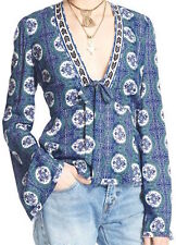 FREE PEOPLE TIME OF YOUR LIFE PRINTED WOMEN'S TOP LARGE NWT