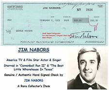 JIM NABORS  ACTOR and SINGER CANNONBALL RUN   1973 SIGNED BANK CHEQUE RARE ITEM