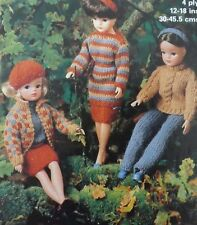 Vintage Knitting Pattern Barbie/Sindy/Teenage Doll ClothesSkirt Jumper Top M1987