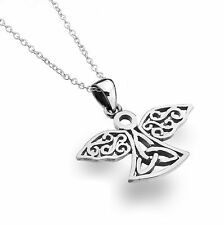 Celtic Lands Sterling Silver 925 Trinity Knot Angel Pendant Necklace in Gift Box