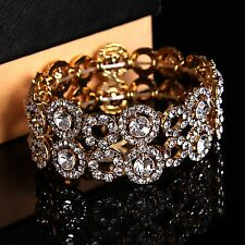 Bridal Accessories bracelet crystal diamantes rhinestones elastic fitness gold
