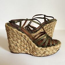 YVES SAINT LAURENT Women Shoes Raffia High Heel Wedge Slingback Sandal Size 38