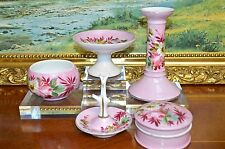 Antique Vintage Unmarked Victorian 5 Piece Part China Dressing Table Set Pink