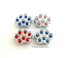 10pcs 10mm colorful crystal cat footprint slide charms Fit Bracelet/Phone strip