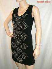15/8 NEW BLACK SILVER TUBULAR STUDDED ROUND NECK SLEEVELESS CLUBBING DRESS 8