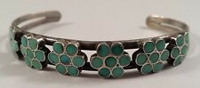 Vintage Zuni Indian Flower Turquoise Inlay Sterling Silver Bracelet Cuff