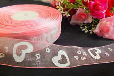 6M PINK ORGANZA WHITE HEART 25mm RIBBON WEDDING CRAFT CAKE CARD PARTY GIFT BOX