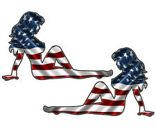 "Mudflap Girl Sticker 5"" AMERICAN FLAG USA FLAG Sexy Vinyl Decal set of 2"