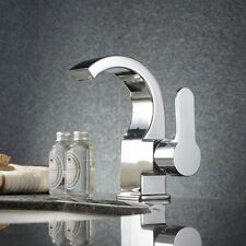 Waterfall Bathroom Brass Basin Mixer Faucet Tap Single Hole Chrome Finish