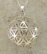 UNIQUE .925 STERLING SILVER FILIGREE FLOWER OF LIFE BALL PENDANT  style# p0903