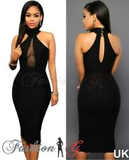 Ladies Women Midi Dress Black Celeb Party Bodycon Evening Pencil Size 12 14,16 L