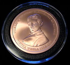 2nd-Run Nikola Tesla .999 Copper Commemorative Medallion With Holder