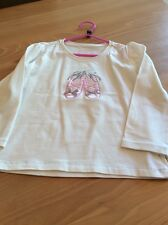 girls clothes 5 years Cream Cotton Embroidered Ballet Shoes Long Sleeved Top