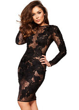 "HOUSE OF CB 'Nolita' Black Stretch Lace Long Sleeve Dress ""Faults."" MM 7457"